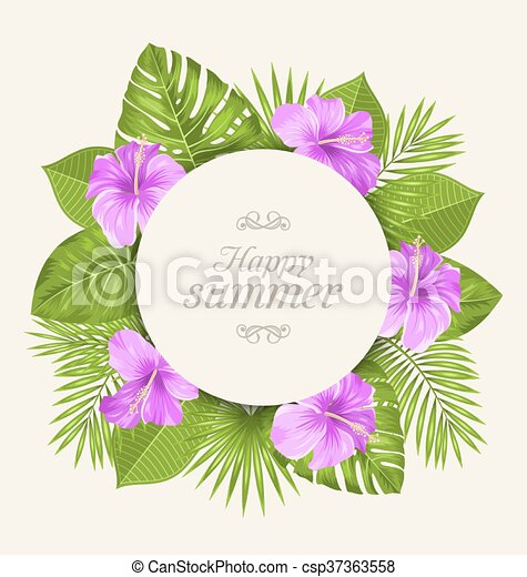 Illustration Vintage Card With Purple Hibiscus Flowers And Green