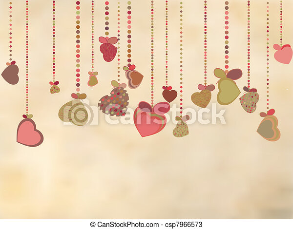 Vintage card with valentines hearts. EPS 8 - csp7966573
