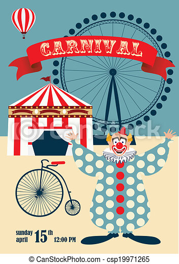 Vintage Carnival Or Circus Invitation Template Vector Illustration