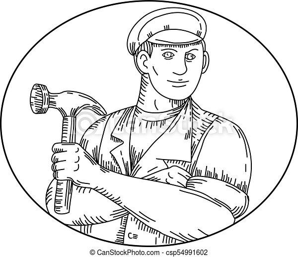 Vintage Carpenter Hammer Mono Line - csp54991602