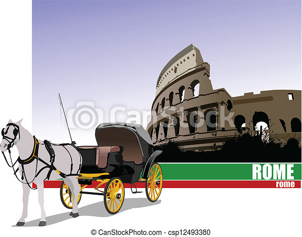 Vintage carriage and horse. Vector - csp12493380