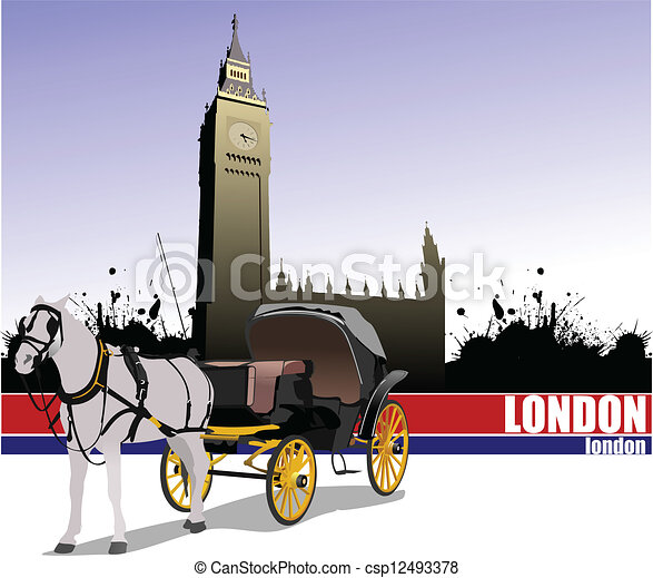 Vintage carriage and horse. Vector - csp12493378