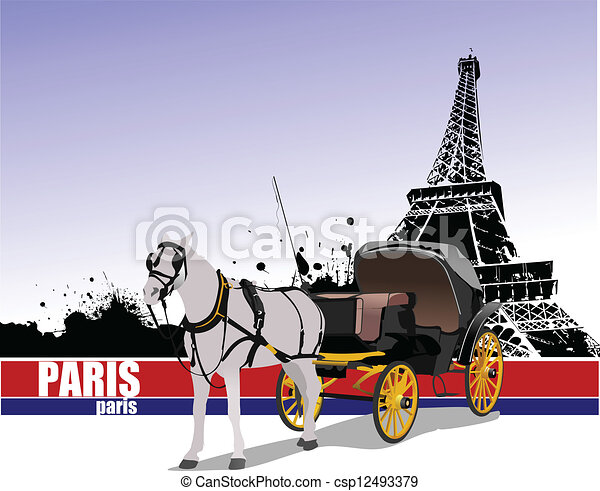 Vintage carriage and horse. Vector - csp12493379
