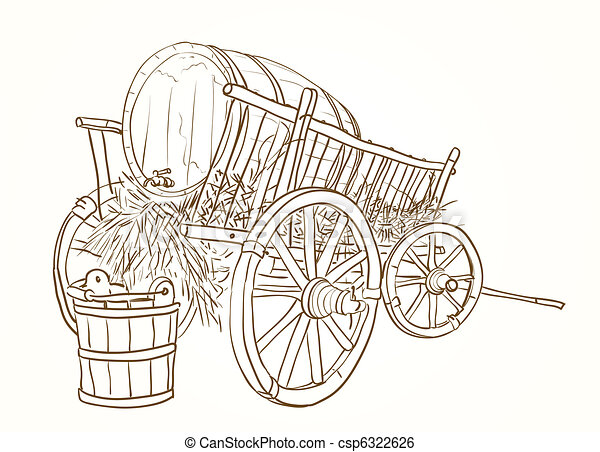 vintage cart with a barrel of wine  - csp6322626
