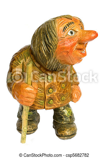 Vintage carved wooden troll isolated on white background - csp5682782