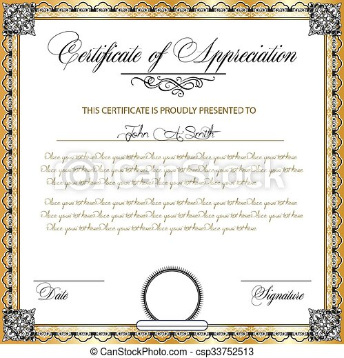 Vintage certificate of appreciation with ornate elegant retro abstract floral design - csp33752513