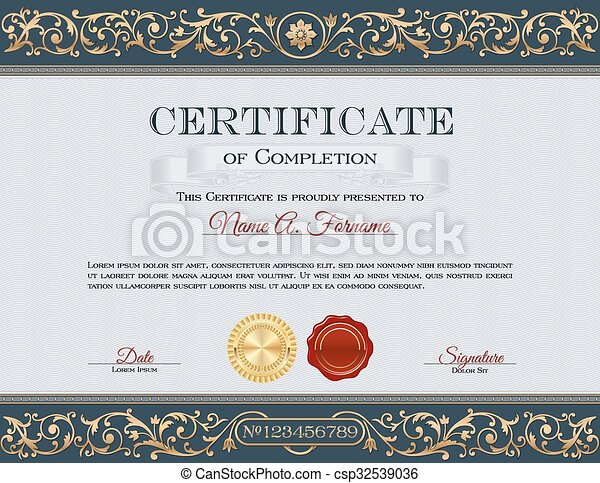 Vintage Certificate of Completion - csp32539036