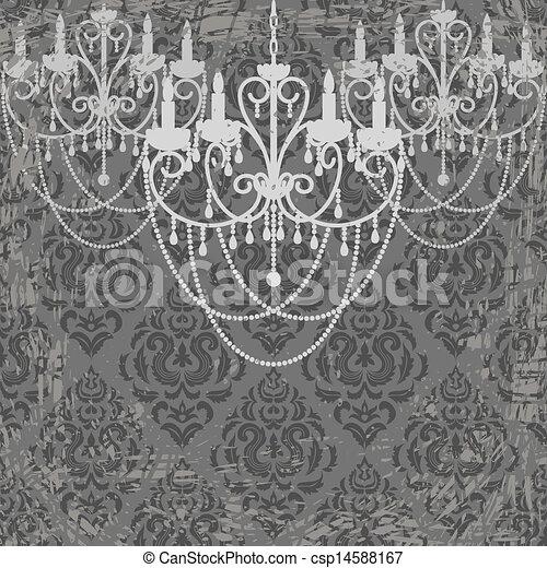 vintage chandeliers vector
