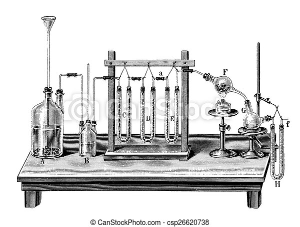 Vintage chemistry engraving -  chemical composition of water - csp26620738