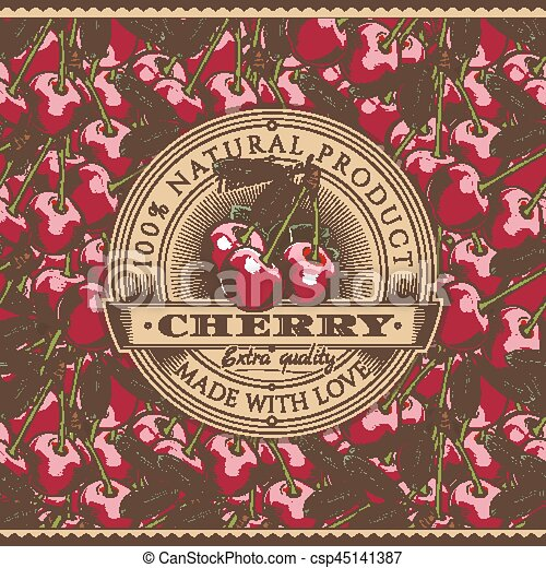 Vintage Cherry Label On Seamless Pattern Vector Label On Seamless