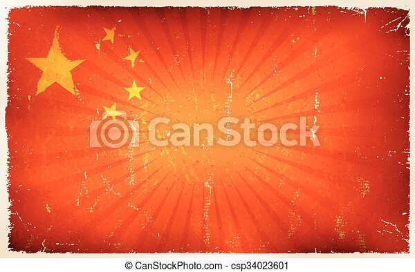 Vintage China Flag Poster Background - csp34023601
