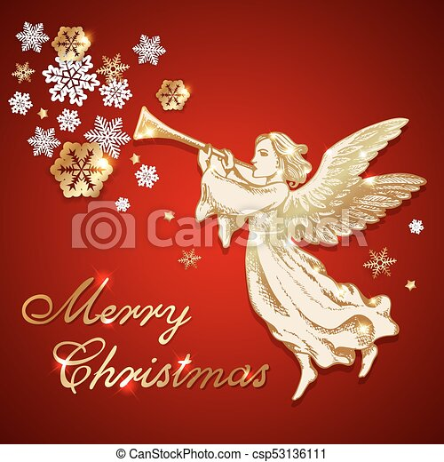 Vintage Christmas Angel And Snowflakes Golden Vintage Vector