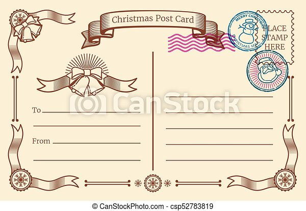 Vintage christmas blank postcard with text space and xmas postal vintage christmas blank postcard with text space and xmas postal stamps vector template maxwellsz