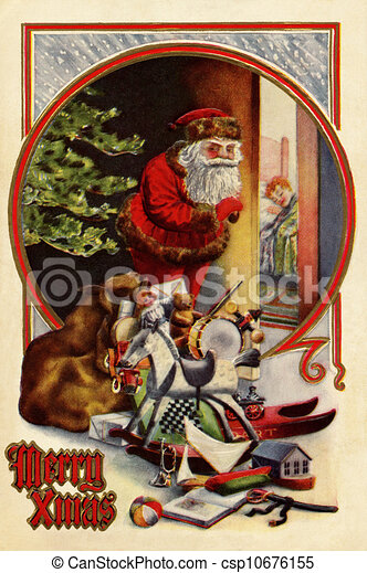 Vintage Christmas Illustrations.Vintage Christmas Card Of Santa
