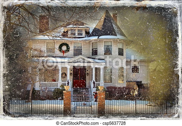 Vintage Christmas Card Victorian House At Christmas In