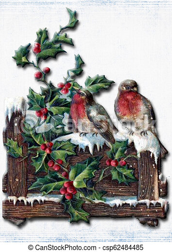 Vintage christmas card With birds, holly branch and snow - csp62484485