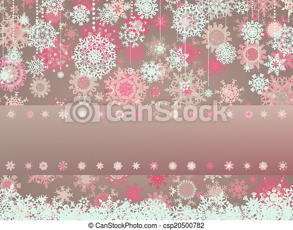 Vintage Christmas card with snowflakes. EPS 8 - csp20500782