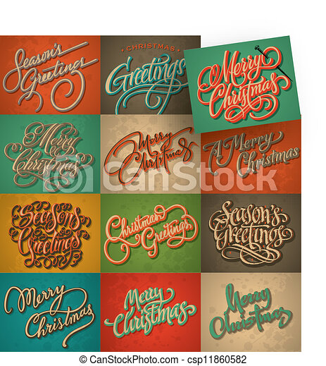 Vintage Christmas Cards Set, Vector