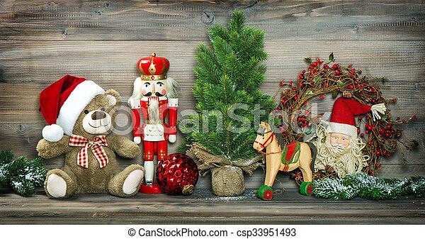 Vintage Christmas Decoration Teddy Bear Rocking Horse Nutcracker Vintage Christmas Decoration Teddy Bear Rocking Horse And Canstock