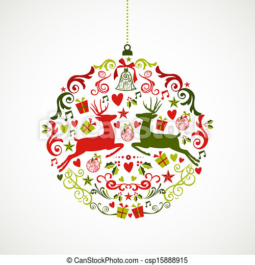 Christmas Graphics Vector.Vintage Christmas Elements Bauble Design Eps10 File