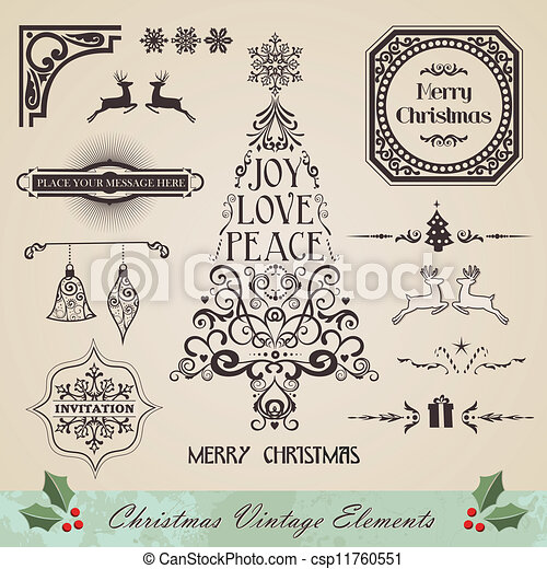 Vintage Christmas Illustrations.Vintage Christmas Elements Set