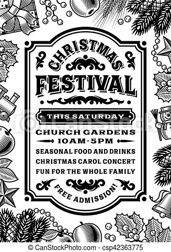 Vintage christmas festival poster black and white csp42363775