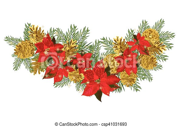Vintage Christmas Garland With Golden Pine Cones And Red Poinsettia Isolated On White Background