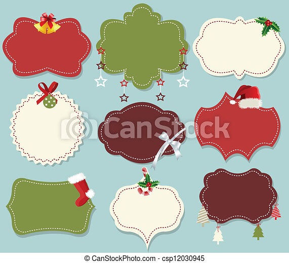 Vintage christmas label banner set - csp12030945