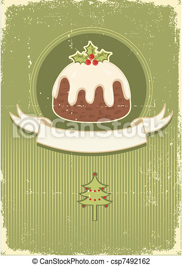 Vintage christmas pudding on old paper texture - csp7492162