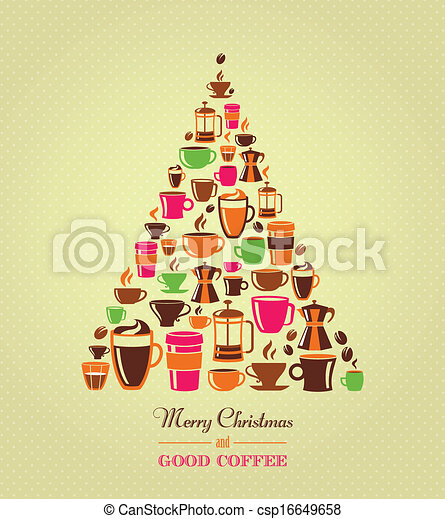 Vintage christmas tree coffee icons coffee icons christmas vintage christmas tree coffee icons vector altavistaventures Image collections