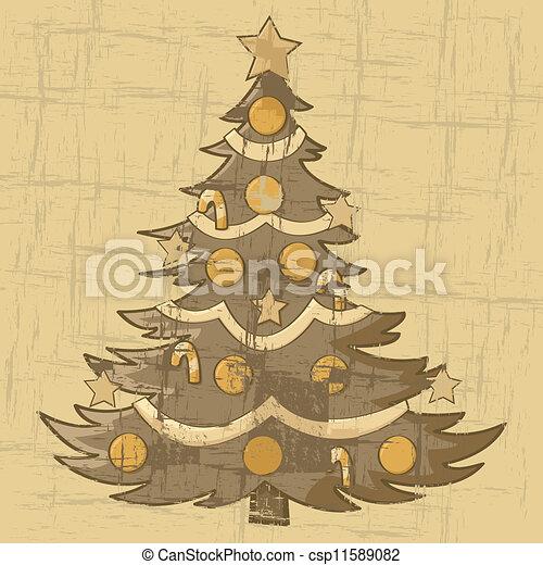 Vintage Christmas Illustrations.Vintage Christmas Tree