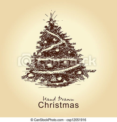 vintage christmas tree - csp12051916
