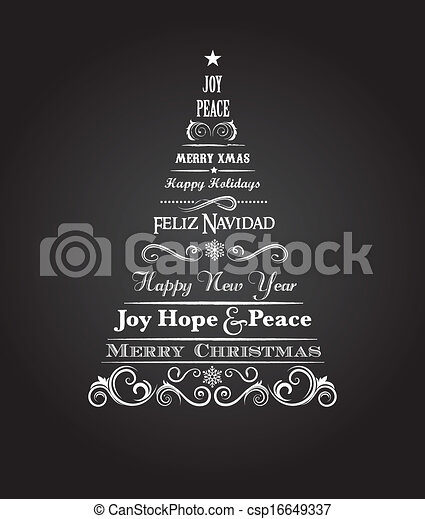 Vintage Christmas tree with text and elements - csp16649337