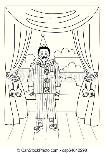 Vintage Circus Illustrations Collection Clown On Stage