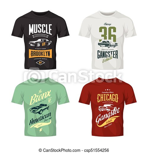 ef643e74 Vintage classic gangster and muscle car vector t-shirt logo mock up set.  premium quality old sport vehicle logotype tee-shirt emblem illustration.  american ...
