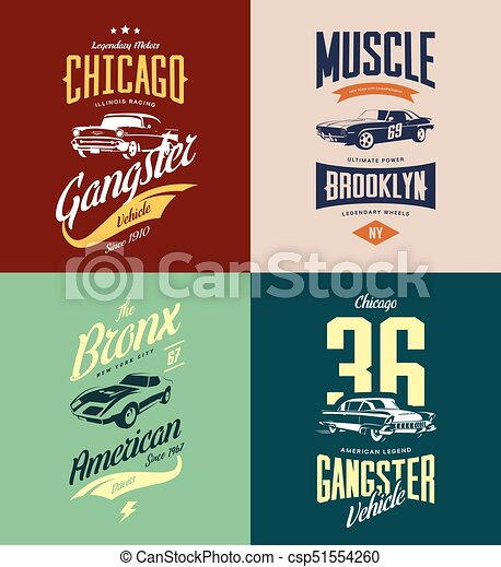 b4c5bf05 Vintage classic gangster, muscle car vector tee-shirt logo isolated set.  premium quality old sport vehicle logotype t-shirt emblem illustration.  american ...