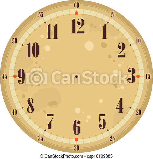 Vintage Clock Face Template With Old Background Vector  Search Clip