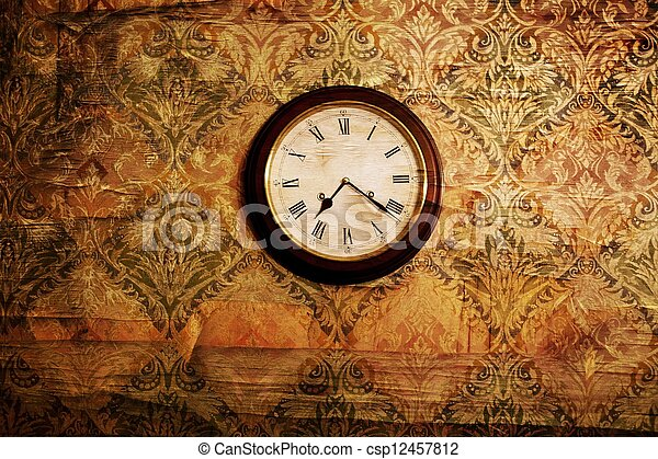 Vintage clock on a wall - csp12457812