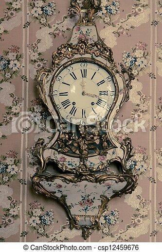Vintage clock on wall - csp12459676