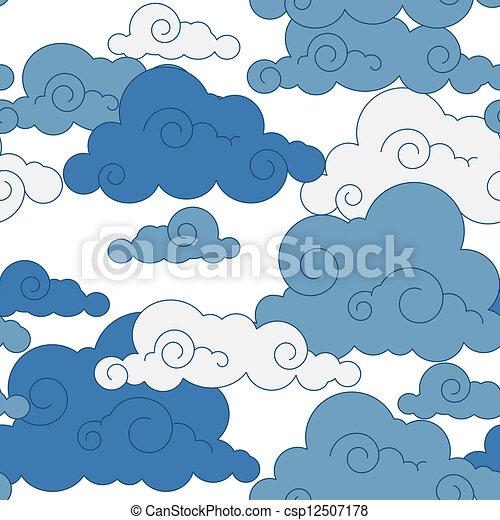 vintage cloud Chinese seamless pattern