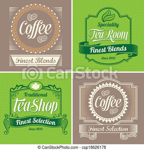 Vintage Coffee and Tea Labels - csp18626178