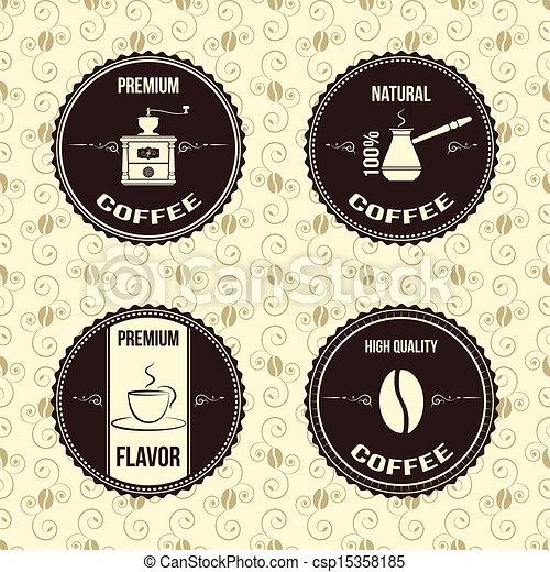vintage coffee labels  - csp15358185