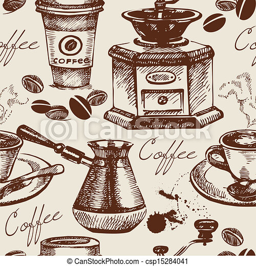Vintage coffee seamless pattern. Hand drawn illustration - csp15284041