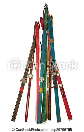 Vintage collection of used skis isolated on white - csp29796795
