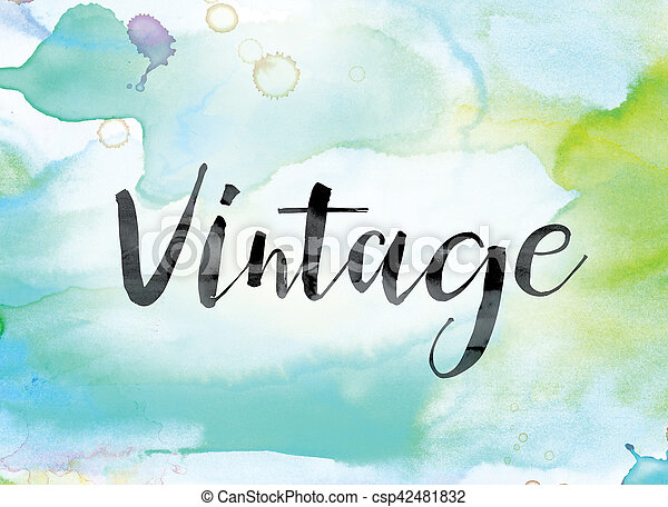 Vintage Colorful Watercolor and Ink Word Art - csp42481832
