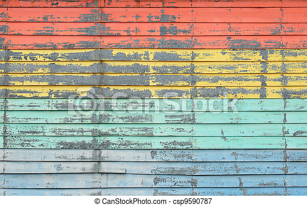 Vintage colorful wooden wall - csp9590787