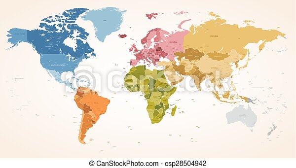 Vintage colors vector political world map a vintage colors eps vintage colors vector political world map gumiabroncs Images