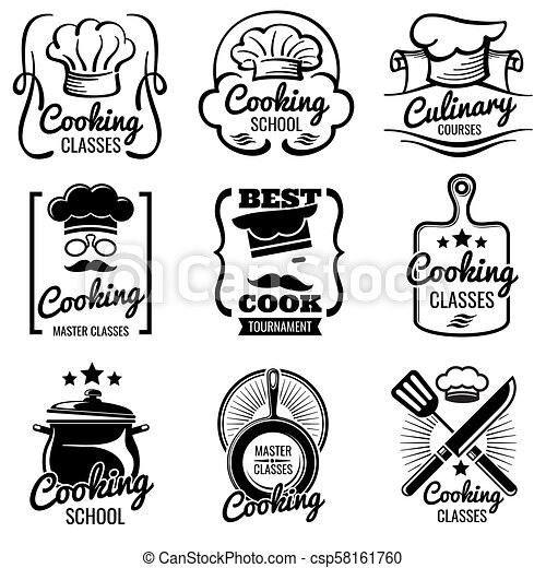 Vintage Cooking In Kitchen Classes Vector Silhouette Labels Cook