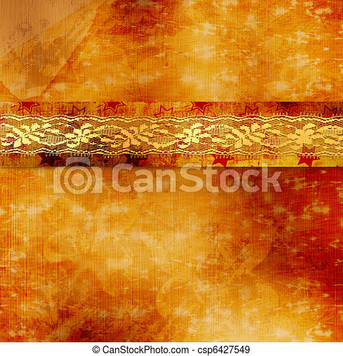 Vintage cover for album  with gold lace - csp6427549
