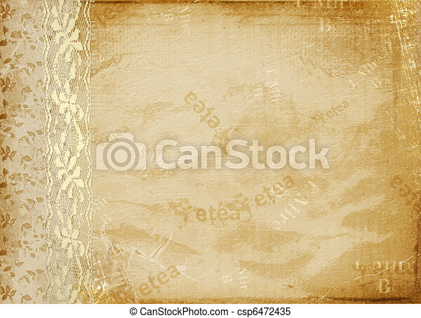 Vintage cover for album  with gold lace - csp6472435